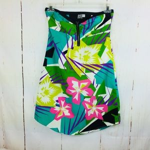 Roxy Floral Strapless Dress Abstract Medium
